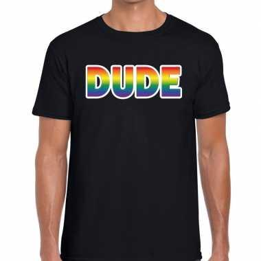 Goedkope dude regenboog gaypride shirt zwart heren