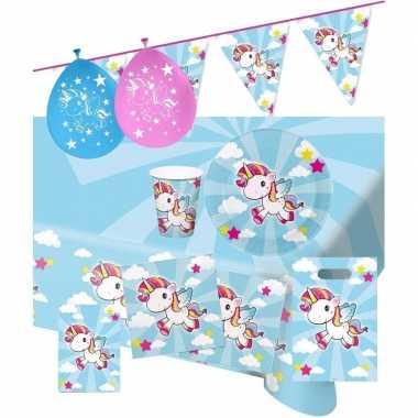 Goedkope eenhoorn thema kinderfeestje versiering pakket personen