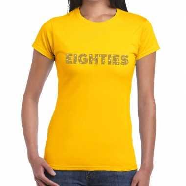 Goedkope eighties goud glitter t shirt geel dames