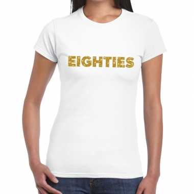 Goedkope eighties goud glitter t shirt wit dames