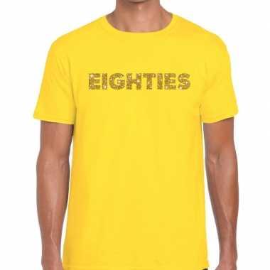 Goedkope eighties goud glitter tekst t shirt geel heren