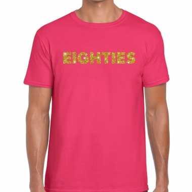 Goedkope eighties gouden glitter tekst t shirt roze heren