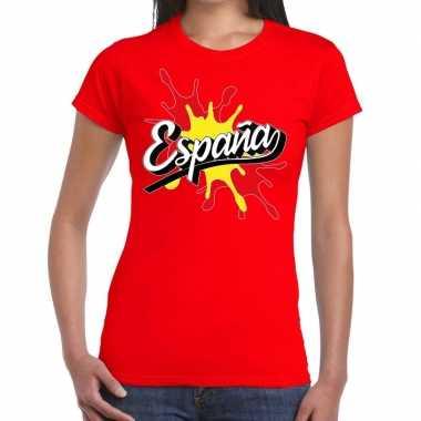 Goedkope espana/spanje t shirt spetter rood dames