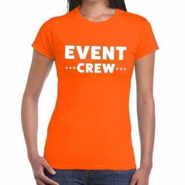 Goedkope event crew / personeel tekst t shirt oranje dames