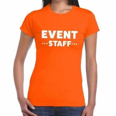 Goedkope event staff / personeel tekst t shirt oranje dames