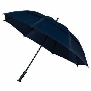 Goedkope extra sterke storm paraplu donkerblauw