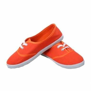 Goedkope feest oranje sneakers/schoenen dames accessoires