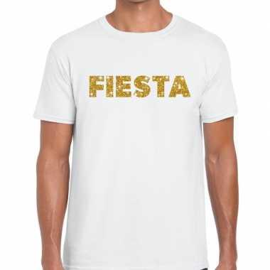 Goedkope fiesta goud glitter tekst t shirt wit heren