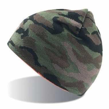 Goedkope fijngebreide camouflage muts volwassenen