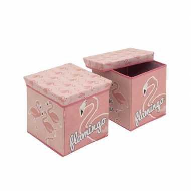 Goedkope flamingo dieren roze poef/zitje opbergbox
