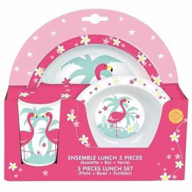 Goedkope flamingo thema plastic kinderservies set bord/kom/beker