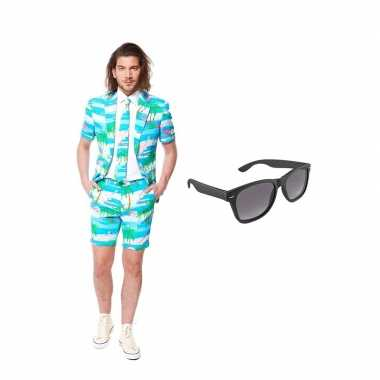 Goedkope flamingo zomer heren kostuum maat (l) gratis zonnebril