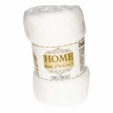 Goedkope flanellen deken/plaid wit