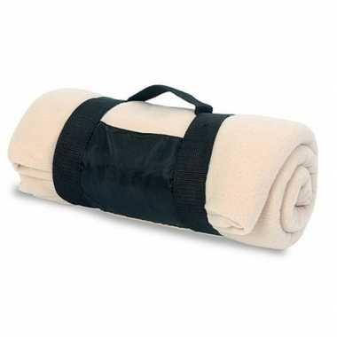 Goedkope fleece deken/plaid beige afneembaar handvat