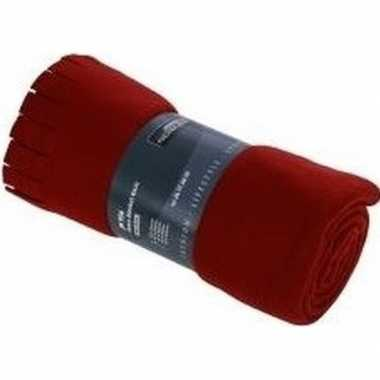 Goedkope fleece deken/plaid franjes rood