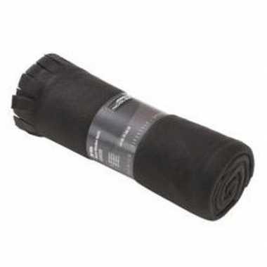 Goedkope fleece deken/plaid franjes zwart