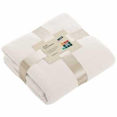 Goedkope fleece deken/plaid gebroken wit