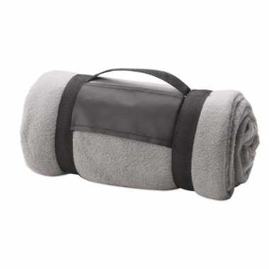 Goedkope fleece deken/plaid grijs afneembaar handvat