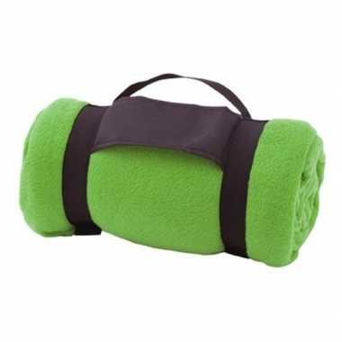 Goedkope fleece deken/plaid groen afneembaar handvat