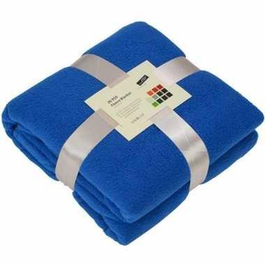 Goedkope fleece deken/plaid kobaltblauw