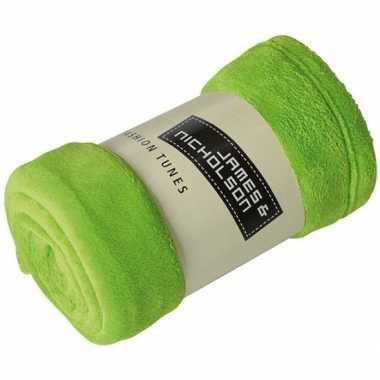 Goedkope fleece deken/plaid limegroen