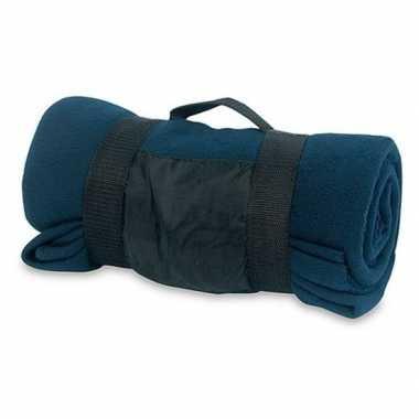 Goedkope fleece deken/plaid navy blauw afneembaar handvat c