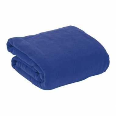 Goedkope fleece deken/plaid navy blauw mouwen