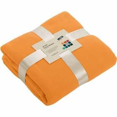 Goedkope fleece deken/plaid oranje