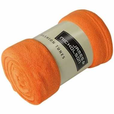 Goedkope fleece deken/plaid oranje
