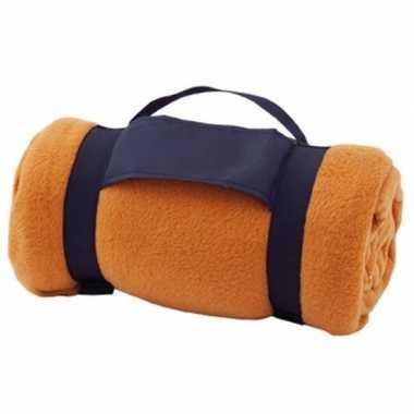 Goedkope fleece deken/plaid oranje afneembaar handvat