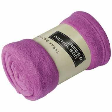 Goedkope fleece deken/plaid paars