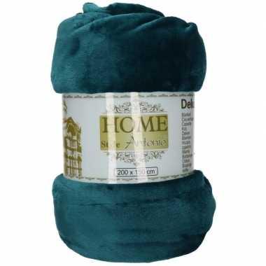 Goedkope fleece deken/plaid petrol blauw