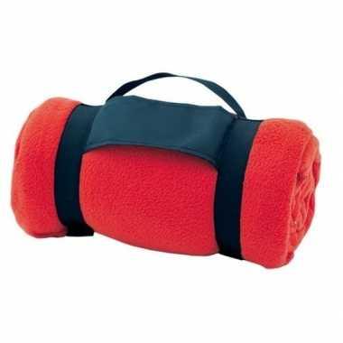 Goedkope fleece deken/plaid rood afneembaar handvat