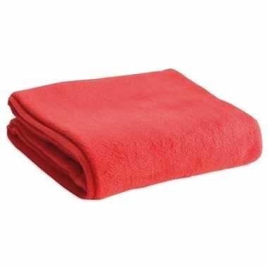 Goedkope fleece deken/plaid rood