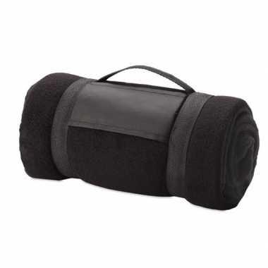 Goedkope fleece deken/plaid zwart afneembaar handvat