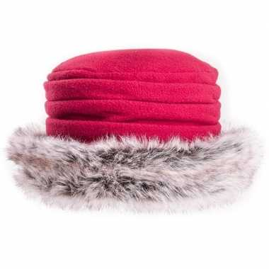 Goedkope fleece muts/hoed nepbont rood dames