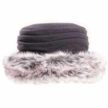 Goedkope fleece muts/hoed nepbont zwart dames