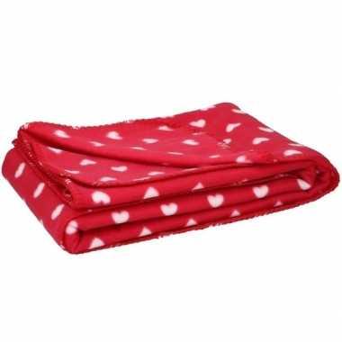 Goedkope fleece plaid deken hartjes