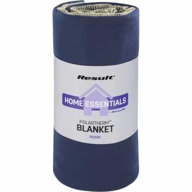 Goedkope fleece plaid/deken navy blauw luxe/dikke kwaliteit