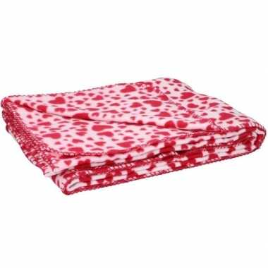 Goedkope fleece plaid deken rode hartjes