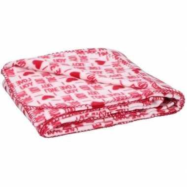 Goedkope fleece plaid deken rood witte hartjes