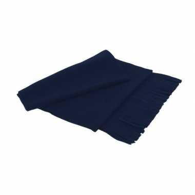 Goedkope fleece sjaal franjes volwassenen marineblauw