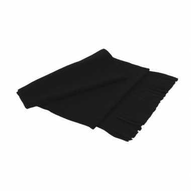 Goedkope fleece sjaal franjes volwassenen zwart
