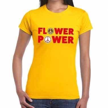 Goedkope flower power tekst t shirt geel dames