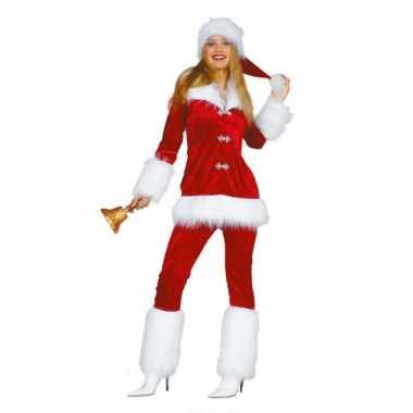 Goedkope fluwelen kerstvrouw kostuum