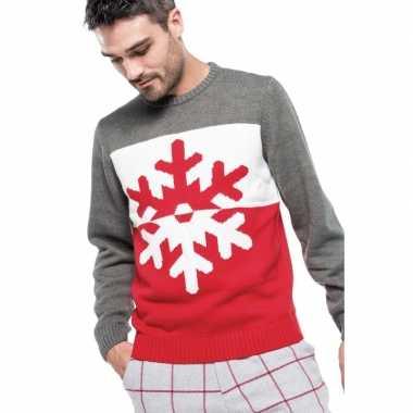 Goedkope foute gebreide kersttrui grijs/rood sneeuwvlok heren