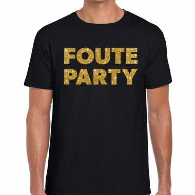 Goedkope foute party gouden glitter tekst t shirt zwart heren