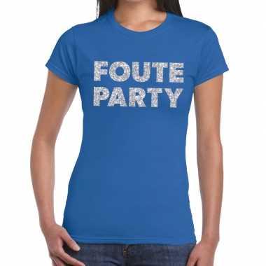 Goedkope foute party zilveren glitter tekst t shirt blauw dames