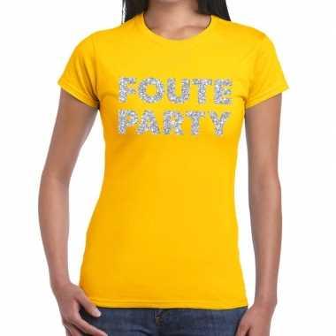 Goedkope foute party zilveren glitter tekst t shirt geel dames