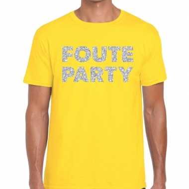 Goedkope foute party zilveren glitter tekst t shirt geel heren